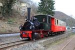 "Brohl. 3 avril 2010. Chemin de fer touristique du Brohltalbahn. Locomotive 020T ""Franzburg"". Cliché Pierre BAZIN"