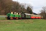Niederrissen. 3 avril 2010. Brohltalbahn. Locomotives D1+D2. TRain P63 Brohl - Engeln. Cliché Pierre BAZIN