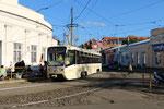 Krasnodar-T-011 : Motrice 71-619KT n° 241 de 2007, sur la ligne 8, au croisement des rues Gogol et Kommunaroc. Cliché Pierre BAZIN, 20 octobre 2013