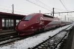 Les Aubrais. 9 février 2018. Rame Thalys n° 4306 dans sa nouvelle livrée. Train d'essais. Cliché Pierre Bazin