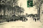 Orléans-T-032 : arrivée d'un tramway à Olivet un dimanche d'été, avec de nombreux promeneurs