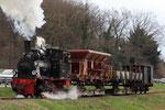 Niederrissen. 3 avril 2010. Brohltalbahn. Locomotive 030T n° 99-7203. Train G6015 Brohl - Oberzissen. Cliché Pierre BAZIN