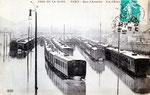 Les voies de garage inondées de Paris-Austerlitz, pendant la grande crue de 1910