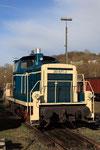 Dépôt de Gerolstein. 1er avril 2010. Locomotive V60 n° 261-671 dans l'ancienne livrée bleue de la DB. Cliché Pierre BAZIN