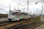 "Krasnodar-T-001 : Motrice Tatra T3SU n° 038 de 1982 au terminus de la ligne 2 à Kompleks ""Citi-Tsentr"". Cliché Pierre BAZIN, 20 octobre 2013"