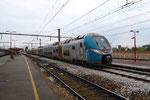 Les Aubrais. 3 mai 2017. Rame Regio 2N Bombardier de la région Pays-de-Loire n° 502 C en essais. Cliché Pierre Bazin