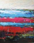 # Landschap in blauw/rood/roze # 80x100 verkocht