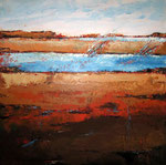 # Landschap in blauw/oranje # 100x100 # 3D