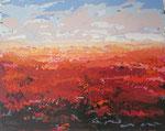# Landschap in rood # 80x100 verkocht