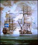 """Бой фрегата """"Александр Невский"""" с шведским линейным кораблем.                              2009 г. Холст, масло. 95х80 см."""