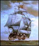 """Линейный корабль """"Св. Андрей Первозванный"""". 1758 г.       2009 г. Холст, масло.  70х60 см."""