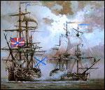 """Бой линейного корабля """"Иоанн Креститель"""" с шведским фрегатом.   2009 г. Холст, масло. 80х95 см."""