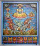 Ангелы и драконы.         1999 г. Оргалит, масло. 57х48 см.