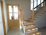 habillage de marches en chêne sur escalier béton