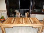 table avec allonges en noyer