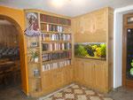 aménagement pour aquarium, bibliothèque en frêne