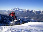 Snowboarden am Galsterberg mit Blick auf das Ennstal