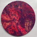 -Gewusel-  Ø30cm x 1,5cm, Acryl auf Leinwand, fluoreszierend