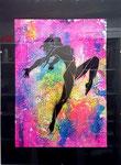 -Frau2-  30cm x 40cm mit Rahmen, Acryl auf Papier 320g², fluoreszierend