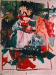 """"""" la fontaine"""", 1997, 130x97, huile sur papier marouflé sur toile ©"""
