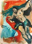 """""""l'ascension"""" d'après Le Tintoret, 1995, 21x29, huile sur papier marouflé sur toile ©"""