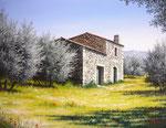 Bastidon dans l'oliveraie      Huile/Toile ( 35 / 27cm )      VENDUE