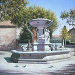 Fontaine des quatre saisons (Maussane les Alpilles)      Huile/Toile ( 30 / 30cm)       VENDUE
