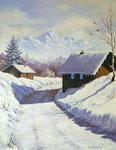 Un hiver en Haute Savoie      Huile/Toile ( 35 / 27cm )      VENDUE