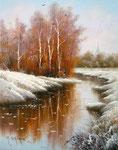 De l'automne à l'hiver      Huile/Toile ( 24 / 19cm )      DISPONIBLE