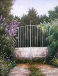 La grille au lilas      Huile/Toile ( 35 / 27cm )      VENDUE