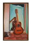 Fritzi und Gitarre - 68 x 44 - Öl / Holz - 2003