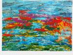 Seerosen rot - 50 x 70 - Acryl / Hartfaser - 2018