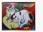 Fritzi und Milli auf gelbem Kissen - 62 x 70 - Öl / Holz - 2001