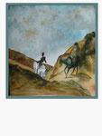nach Daumier - Don Quixote und Sancho Pansa - 25,4 x 24 - Tempera / Papier - 2016