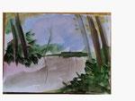 Himmel über Waldlichtung oder Waldsee - 24 x 32 - Aquarell / Papier - 2013