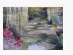 Gartenidylle mit Trauerweide am See - 29,5 x 41,7 - Aquarell / Papier - 2013
