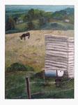 Landschaft mit Esel - 80 x 60 - Acryl / Hartfaser - 2017