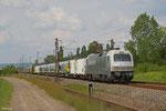 127 001(PCW 8) mit DbZ 61892 Klinkum - Völklingen (Sdl.Triebwagenüberführung, London Midland-350 376 und London Midland-350 377) , Ensdorf 27.07.14