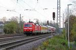 120 501 (DB Systemtechnik) mit Bombardier TWINDEXX - Doppelstockwagen für DB Fernverkehr, Luisenthal(Saar) 19.11.14