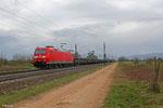 185 187 mit GM 62831 Saarbrücken Rbf Nord - Kehl am 15.03.14 vor Haßloch(Pfalz) (Sdl.Walzdraht in Ringen)