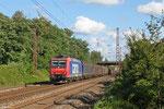SSB Cargo 482 032 (i.E. für HSL) mit DGS 75742 Saarbrücken Rbf Nord - Beddingen VPS (Sdl.Stahl), Saarlouis-Roden 14.08.14