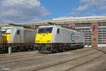 Frisch gewaschen steht ECR 186 317 zur Sonntagsruhe am 02.03.14 in Saarbrücken