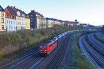 151 166 mit KT 42564 Saarbrücken Rbf Nord - Dillingen Ford , SB- Burbach 25.11.13 (Transfesa - Schenker Automotive, Nachläufer zu 42257 für die Zuführung von Pkw)