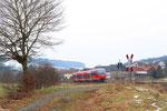 """am Bahnübergang in  Rehweiler 643 019 """"Wolfstein"""" mit RB 12870 Kaiserslautern - Kusel - 13:19 Uhr"""