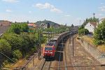 185 039 mit GA 49237 (Dourges-Noisy/F) Forbach/F - München Ost Rbf (Sdl.SAR Wechselbrücken , Probetransport Renault Frankreich - Türkei) , Forbach 02.07.14