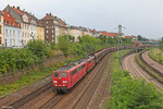 RBH 267 (151 144) + RBH 268 (151 004) mit GM 62848 Neunkirchen(Saar)Hbf - Oberhausen West Orm (RBH Sdl.leere Fal Wagen), Saarbrücken 06.08.14