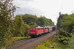 DT 140 805 + 140 843 mit EK 55980 Saarbrücken Rbf West - Fürstenhausen (Auottransport für Mosolf Überherrn) , Fürstenhausen 19.09.14