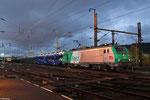 SNCF FRET BB37003 mit GA 49276 Einsiedlerhof - Hendaye/F im Grenzbahnhof Forbach/F am 04.11.13 (Pkw auf Transfesa-Autotransportwagen, Firma Opel und VW-Konzern)