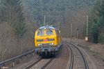 DB NETZ 218 392 mit Schienenprüfzug am 26.03.14 bei Kaiserslautern