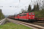 """""""Moselumleiter"""" GM 48776 Dillingen Zentralkokerei - Oberhausen West Orm mit DT 151 150 + 151 016 am 21.04.2013 in Dudweiler"""